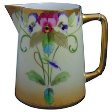 """Pickard Studios Charles Martin Limoges Pansy Design Pitcher (Signed """"E. Gibson""""/c.1903-1905) - Red Tag Sale Item"""