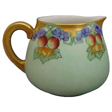 "Tressemann & Vogt (T&V) Limoges Arts &  Crafts Fruit Motif Cider/Lemonade Pitcher (Signed ""H.S. Maguire""/c.1910-1930)"