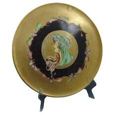 "Tressemann & Vogt (T&V) Limoges Arts & Crafts Mucha-Style ""Autumn Lady"" Design Charger/Plate (c.1900-1930)"
