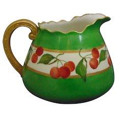 Willets Belleek (American) Cherry Motif Cider/Lemonade Pitcher (c.1880-1904)