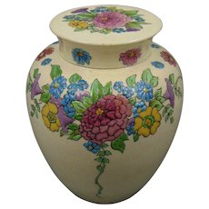 "American Satsuma Enameled Floral Design Covered Jar (Signed ""L.M.O.""/Dated 1918)"