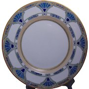 "Hutschenreuther Bavaria Arts & Crafts Enameled Egyptian Motif Plate (Signed ""M.A. Warren""/Dated 1915)"