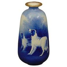 "Grimwade's Stoke on Trent Winton England Dog Design Vase (Signed ""G. Austin"" /c.1906-1930)"