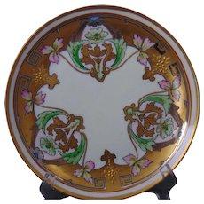 "Pickard Studios Green ""Dahlia & Raised Gold"" Design Plate (c.1912-1918)"