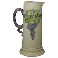 "Rosenthal Selb Bavaria Arts & Crafts Grape Motif Pitcher/Ewer (Signed ""Deborah J. Wright""/Dated 1913)"