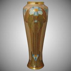 Porcelain Limousine (PL) Limoges Art Deco Brown, Blue & Gold Floral Motif Vase (c.1905-1930)