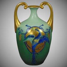 "Bavaria Arts & Crafts Phoenix/Bird Motif Vase (Signed ""Jones""/Dated ""Dec. 25, 1915"")"