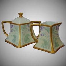 PH Leonard Austria Impressionist Violet Design Creamer & Sugar Set (c.1890-1908)
