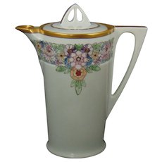 """Uno Favorite Bavaria Arts & Crafts Enameled Floral Coffee/Chocolate Pot (Signed """"E.M.W.""""/c.1910-1930)"""
