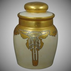 "Moritz Zdekauer (MZ) Austria Arts & Crafts Morning Glory Design Covered Jar (Signed ""Hahn""/Dated 1915) - Keramic Studio Design"