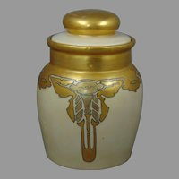 "Moritz Zdekauer (MZ) Austria Morning Glory Design Covered Jar (Signed ""Hahn""/Dated 1915) - Keramic Studio Design"