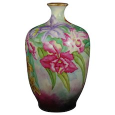 "Jean Pouyat (JP) Limoges Orchid Design Vase (Signed ""L. Schreyer""/Dated 1909)"