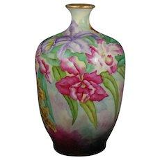 """JP Limoges Orchid Design Vase (Signed """"L. Schreyer""""/Dated 1909)"""
