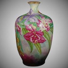 """Jean Pouyat (JP) Limoges Orchid Design Vase (Signed """"L. Schreyer""""/Dated 1909)"""