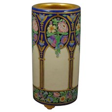 "American Satsuma Enameled Floral Design Vase (Signed ""Lillith Waggener""/Dated 1923)"