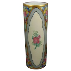 Tressemann & Vogt (T&V) Limoges Enameled Floral with Rose Medallions Design Vase (c.1910-1930)