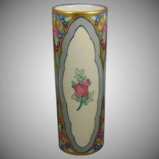 Tressemann & Vogt (T&V) Limoges Enameled Floral with Rose Medallions Design Vase (c.1910-1930)