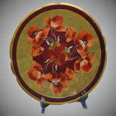 """Pickard Studios Charles Ahrenfeldt Limoges """"Poppies on Etched Border"""" Design Charger/Plate (c.1905-1910)"""