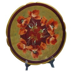 """Pickard Studios """"Poppies on Etched Border"""" Design Charger/Plate (c.1905-1910)"""
