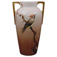 Heinrich & Co. (H&Co.) Arts & Crafts Cedar Waxwing Motif Vase (c.1900-1930)