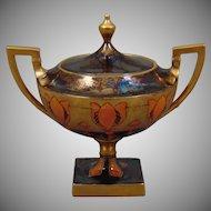 Lenox Belleek Art Deco Gold & Lustre Floral Design Trinket Dish/Sugar Bowl (c.1906-1924) - Keramic Studio Design