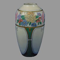 "American Satsuma Enameled Floral Design Vase (Signed ""E. Wagner""/Dated 1915)"
