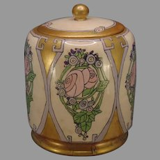 "American Satsuma ""Conventional Rose Motif"" Covered Jar (Signed ""R.C.""/c.1917-1930's) - Keramic Studio Design"