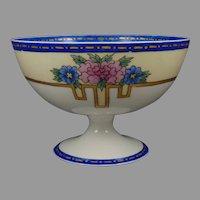 T&V Limoges Floral Design Pedestal Bowl (c.1910-1930's) - Keramic Studio Design