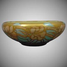 Willets Belleek Arts & Crafts Gold, Pink & Green Floral Motif Bowl (c.1890-1920)