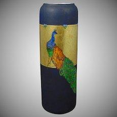 "Epiag Czechoslovakia Arts & Crafts Peacock Design Vase (Signed ""Lina Ross""/Dated 1928)"