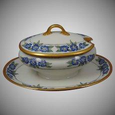 Gerard, Duffraisseix & Abbott (GDA) Limoges Floral Design Condiment Dish (Signed/c.1900-1941)