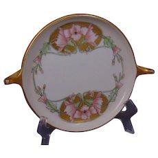 "Rosenthal Donatello Bavaria ""Wild Hollyhock"" Design Handled Tray/Dish (c. 1913-1930) - Keramic Studio Design"