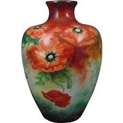 "Large Ceramic Art Company (CAC) Belleek Poppy Motif Vase (Signed ""M.A. Joyce""/Dated 1907)"