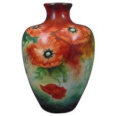 "Large Ceramic Art Company (CAC) Belleek (American) Poppy Motif Vase (Signed ""M.A. Joyce""/Dated 1907)"