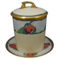 """Tressemann & Vogt (T&V) Limoges Arts & Crafts """"Crab Apple Motif"""" Condensed Milk Set (Signed """"N.E.W.""""/Dated 1911) - Keramic Studio Design"""