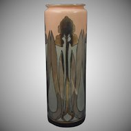 Willets Belleek Art Deco Silver/Platinum Iris Motif Vase (c.1900-1920)