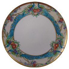 Lenox Belleek Arts & Crafts Enameled Peacocks & Fruit Design Pedestal Plate/Tazza (c.1909-1924)