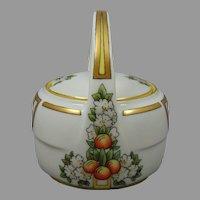 ZS&Co. Bavaria Citrus Fruit & Flower Motif Jelly/Condiment Jar (Signed/c.1910-1930) - Keramic Studio Design