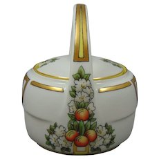 Zeh Scherzer & Co. (ZS&Co.) Bavaria Orange/Citrus Fruit & Flower Motif Jelly/Condiment Jar (Signed/c.1910-1930) - Keramic Studio Design
