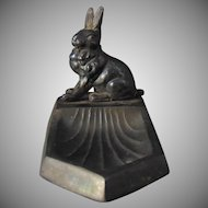 Austrian Art Deco Spelter Metal Rabbit Dish (c.1900-1920)