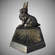 Austrian Art Deco Spelter Metal Rabbit Dish (c.1900-1920)