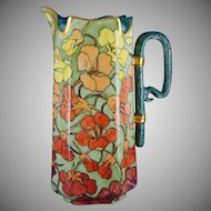 "Haviland Limoges Vibrant Nasturtium Design Pitcher (Signed ""GAD""/c.1888-1896)"