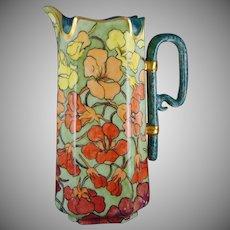 """Haviland Limoges Vibrant Nasturtium Design Pitcher (Signed """"GAD""""/c.1888-1896)"""