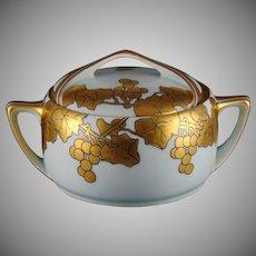 "Rosenthal Bavaria Gold Grape Motif Biscuit Jar (Signed ""AW""/c.1907-1930)"