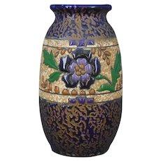 Amphora Austria Blue Enameled Floral Design Vase (c.1890-1910)