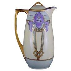 O&EG Austria Art Deco Floral/Violet Design Coffee Pot (Signed/c.1910-1930) - Keramic Studio Design