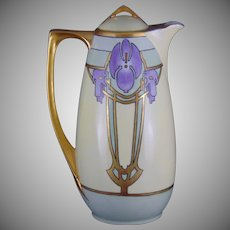 Oscar & Edgar Gutherz (O&EG) Austria Art Deco Floral/Violet Design Coffee Pot (Signed/c.1910-1930)