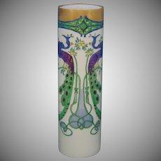 Oscar & Edgar Gutherz (O&EG) Austria Peacock & Fruit Design Vase (Signed/Dated 1910)