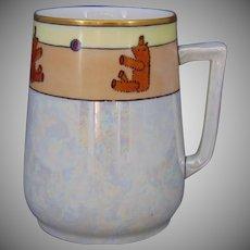 "D&Co. Limoges Teddy Bear & Ball Motif Cup/Mug (Signed ""E. Schulmeyer""/c.1910-1930)"