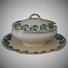 "GDA Limoges ""Flaming Bush Border"" Design Condiment Dish (c.1907-1941) - Keramic Studio Design"